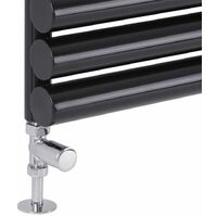 "Milano Modern Chrome Central Heating Towel Rail Radiator Valves Taps 1/2"" Thread Straight (Pair)"
