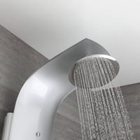 Milano Baya - Modern Exposed Thermostatic Shower Tower Panel with Rainfall Shower Head, Hand Shower Handset and Body Jets - Chrome