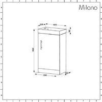 Milano Lurus - White 400mm Bathroom Cloakroom Vanity Unit with Basin