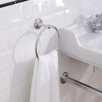 Milano Elizabeth - Traditional Wall Mounted Bathroom Round Towel Ring Holder - Chrome