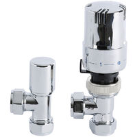 Milano Chrome Thermostatic Control Angled Radiator Valves Central Heating (Pair)