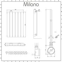 Milano Alpha Electric – 400W Modern Anthracite Horizontal Single Panel Designer Radiator – 635mm x 420mm