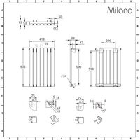 Milano Capri Electric – 400W Modern Anthracite Horizontal Single Flat Panel Designer Radiator – 635mm x 420mm