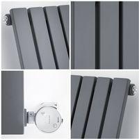 Milano Capri Electric – 1000W Modern Anthracite Horizontal Single Flat Panel Designer Radiator – 635mm x 834mm