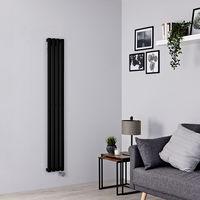 Milano Aruba Slim Electric – 800W Modern Black Horizontal Single Panel Designer Radiator – 1600mm x 236mm