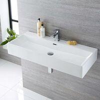 Milano Elswick - Modern White Ceramic Rectangular Countertop Wall Mounted Bathroom Basin Sink – 1000mm x 420mm