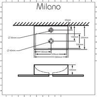 Milano Elswick - Modern White Ceramic Rectangular Countertop or Wall Mounted Bathroom Basin Sink – 360mm x 250mm