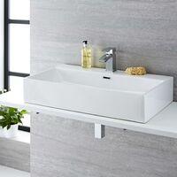Milano Elswick - Modern White Ceramic Rectangular Countertop Wall Mounted Bathroom Basin Sink – 750mm x 420mm