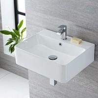 Milano Farington - Modern White Ceramic Rectangular Countertop Wall Mounted Hung Bathroom Basin Sink – 520mm x 420mm
