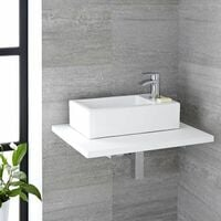 Milano Elswick - Modern White Ceramic Rectangular Countertop or Wall Mounted Bathroom Basin Sink with 1 Tap-Hole – 450mm x 250mm