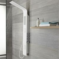 Milano Orton - Modern Thermostatic Shower Tower Panel with Rainfall Shower Head, Hand Shower Handset and Body Jets – White