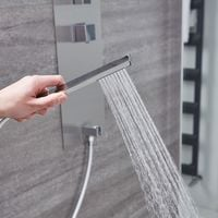 Milano Lisse - Modern Concealed Shower Tower Panel with 300mm Square Wall Mounted Rainfall Shower Head, Hand Shower Handset and Body Jet – Chrome