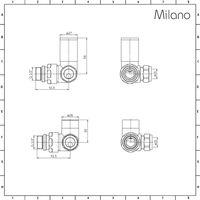 Milano – Modern Chrome Corner Heated Towel Rail Radiator Valves – Pair