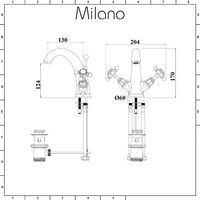 Milano Elizabeth - Traditional Mono Basin Mixer Tap with Crosshead Handles - Chrome and Black