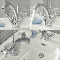 Milano Elizabeth - Traditional Mono Basin Mixer Tap with Crosshead Handles - Chrome and White