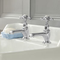 Milano Elizabeth - Traditional Basin Pillar Taps with Crosshead Handles - Chrome and White