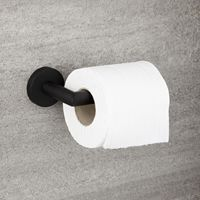 Milano Nero - Modern Round Wall Mounted Bathroom Toilet Roll Holder - Black