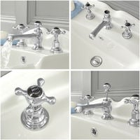 Milano Elizabeth - Traditional 3 Tap-Hole Basin Mixer Tap with Crosshead Handles - Chrome and Black