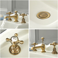 Milano Elizabeth - Traditional 3 Tap-Hole Basin Mixer Tap with Crosshead Handles - Brushed Gold