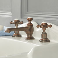 Milano Elizabeth - Traditional 3 Tap-Hole Basin Mixer Tap with Crosshead Handles - Oil Rubbed Bronze