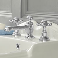 Milano Elizabeth - Traditional 3 Tap-Hole Basin Mixer Tap with Crosshead Handles - Chrome and White