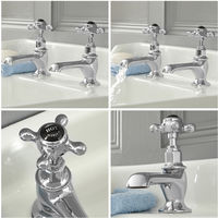 Milano Elizabeth - Traditional Basin Pillar Taps with Crosshead Handles - Chrome and Black