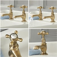 Milano Elizabeth - Traditional Basin Pillar Taps with Crosshead Handles - Brushed Gold