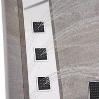 Milano Astley - Modern Corner Thermostatic Shower Tower Panel with Rainfall Shower Head, Hand Shower Handset and Body Jets - Chrome and Black