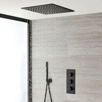 Milano Nero - Modern Black Concealed Triple Thermostatic Mixer Shower Valve with 400mm Square Ceiling Mounted Recessed Rainfall Shower Head and Hand Shower Handset Kit