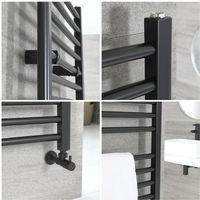 Milano Nero - Modern Black Heated Towel Radiator Rail - 1200mm x 500mm Flat Bars