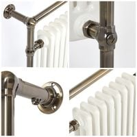 Milano Elizabeth - Traditional Brushed Brass and White Heated Towel Rail Radiator - 930mm x 620mm