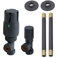 Milano - Modern Anthracite Angled Thermostatic Heated Towel Rail Radiator Valves and Pipe Connector Kit