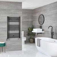 Milano Nero - Modern Black Dual Fuel Electric Flat Heated Towel Rail Radiator - 1000mm x 500mm