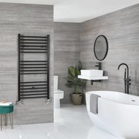 Milano Nero - Modern Black Dual Fuel Electric Flat Heated Towel Rail Radiator - 1200mm x 500mm