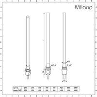Milano Nero - Modern Black Dual Fuel Electric Flat Heated Towel Rail Radiator - 1600mm x 500mm