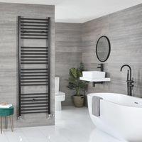 Milano Nero - Modern Black Dual Fuel Electric Flat Heated Towel Rail Radiator - 1800mm x 500mm
