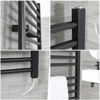Milano Nero Electric - 1600mm x 500mm Modern Flat Heated Towel Rail Radiator – Black