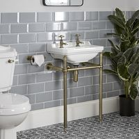 Milano Richmond - Traditional White Ceramic Bathroom Basin Sink with Two Tap Holes and Brushed Gold Washstand - 500mm x 350mm