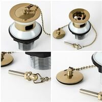Milano Auro - Traditional Basin Waste with Plug and Ball Chain - Brushed Gold
