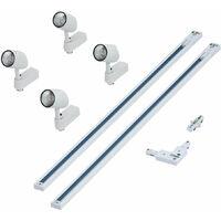 Biard 2m (2 x 1m) White Single Circuit LED Track Light Kit with 4 x 7W Lights - Cool White - Kitchen, Office, Shop Display & Retail Lighting