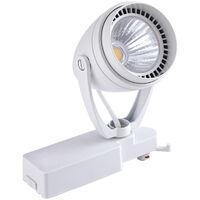 Biard 2m (2 x 1m) White Single Circuit LED Track Light Kit with 4 x 12W Lights - Cool White - Kitchen, Office, Shop Display & Retail Lighting
