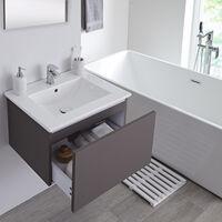 Milano Oxley - Grey 610mm Wall Hung Bathroom Vanity Unit with Basin