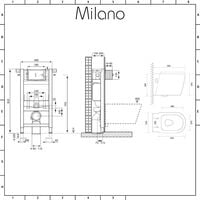 Milano Ballam - White Ceramic Modern Bathroom Wall Hung Round Toilet WC with Short Wall Frame, Dual Flush Cistern, Soft Close Seat and Square White Flush Plate