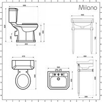 Milano Richmond - White Traditional Single Ended Bath, Ceramic Close Coupled Toilet WC and Three Tap Hole Bathroom Basin Sink and Washstand