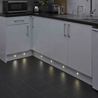 Biard 6 x Round LED Plinth Light Recessed Kitchen Decking Kit 30mm Waterproof Natural White