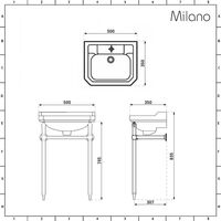Milano Richmond - White Traditional Ceramic Toilet Pan WC with High Level Cistern and Bathroom Basin Sink with One Tap Hole and Washstand
