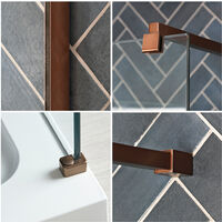 Milano Vara - Walk In Wet Room Shower Enclosure with Screen, Support Arm and 1200mm x 800mm White Tray - Matte Copper