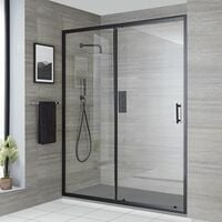 Milano Nero - Reversible Recessed Walk In Wet Room Shower Enclosure with Sliding Door and 1200mm x 800mm Light Grey Slate Effect Tray with Fast Flow Waste - Black