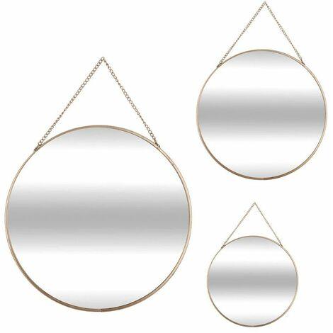 Lot de 3 Miroirs dorés Essential Mood - Rond - Atmosphera - Or