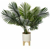Palmier céramique pied bois H72